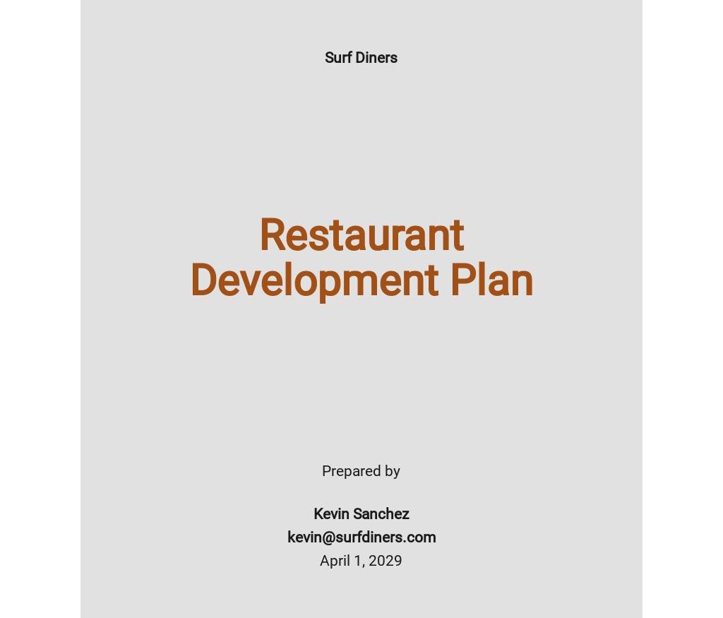 Restaurant Development Plan Template
