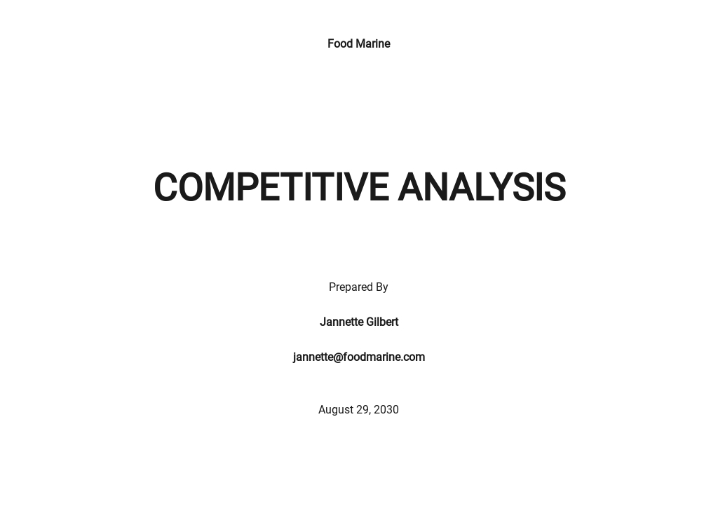 Company Competitive Analysis Template