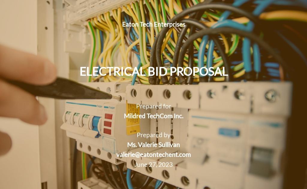 Electrical Bid Proposal Template