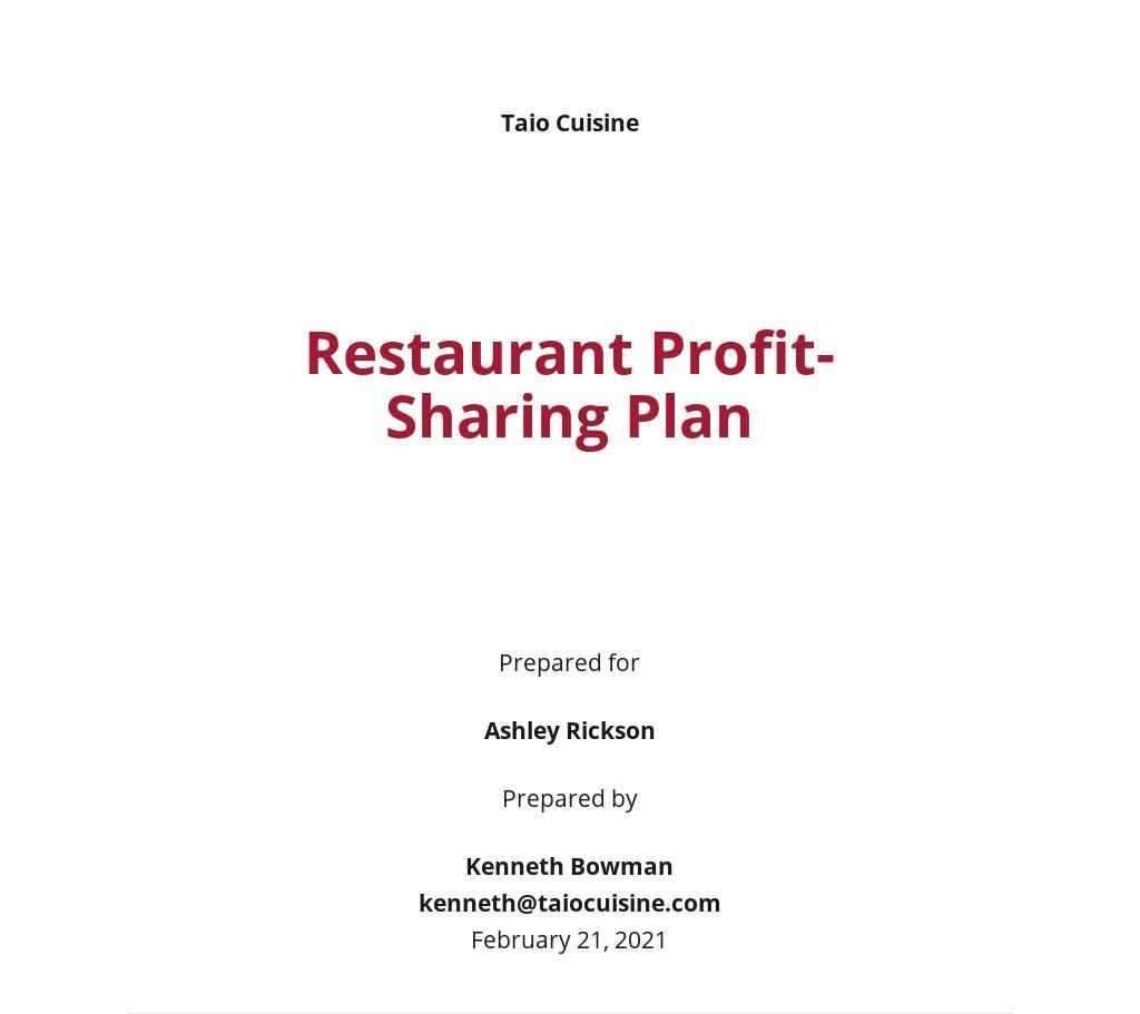 Restaurant Profit Sharing Plan Template
