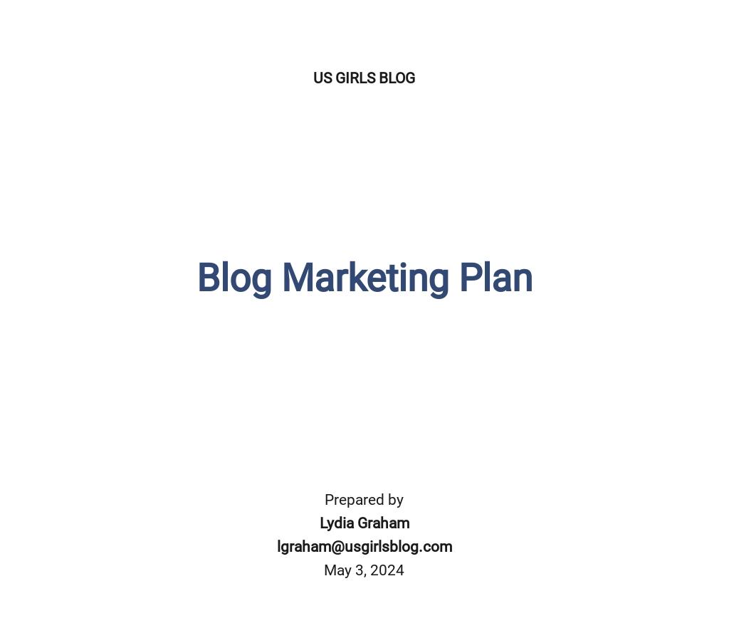 Blog Marketing Plan Template