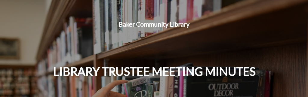 Library Trustee Meeting Minutes Template