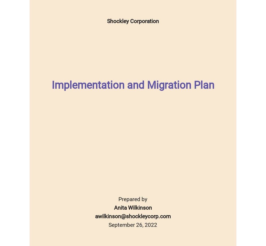 Implementation and Migration Plan Template