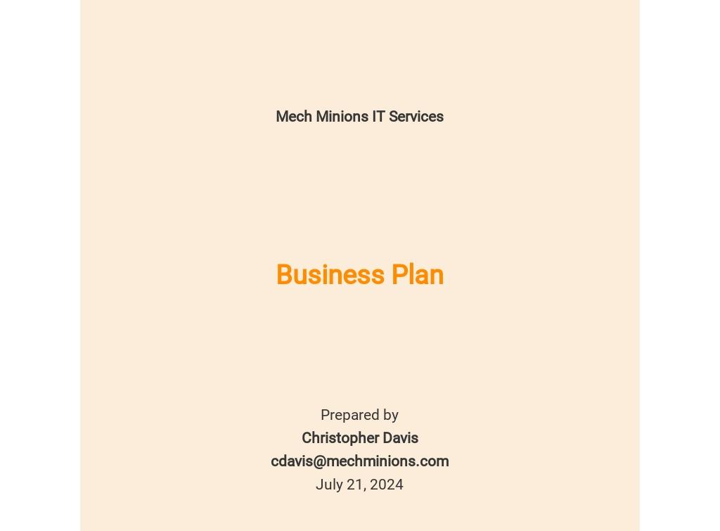 Free Basic IT Business Plan Template