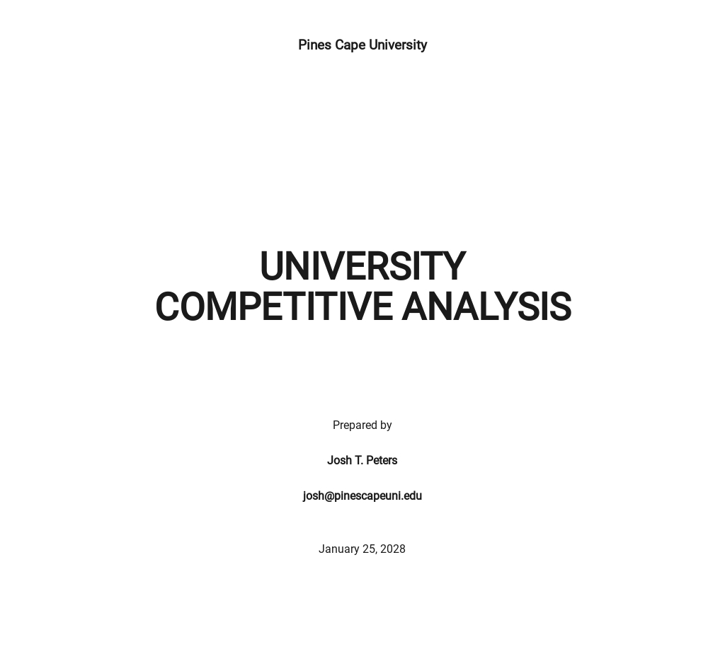 University Competitor Analysis Template