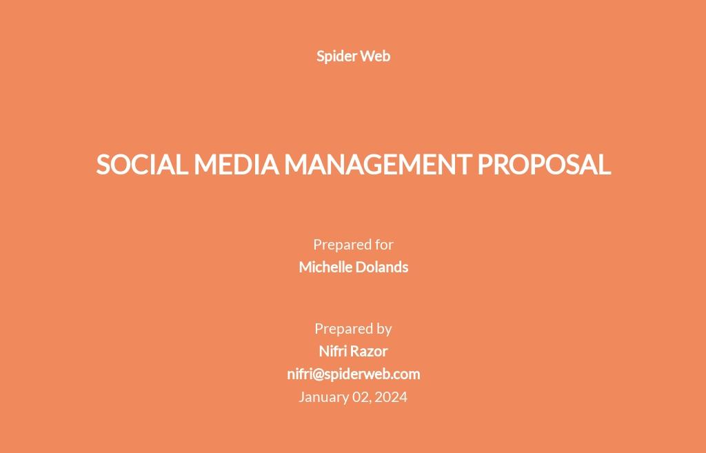 Social Media Management Proposal Template