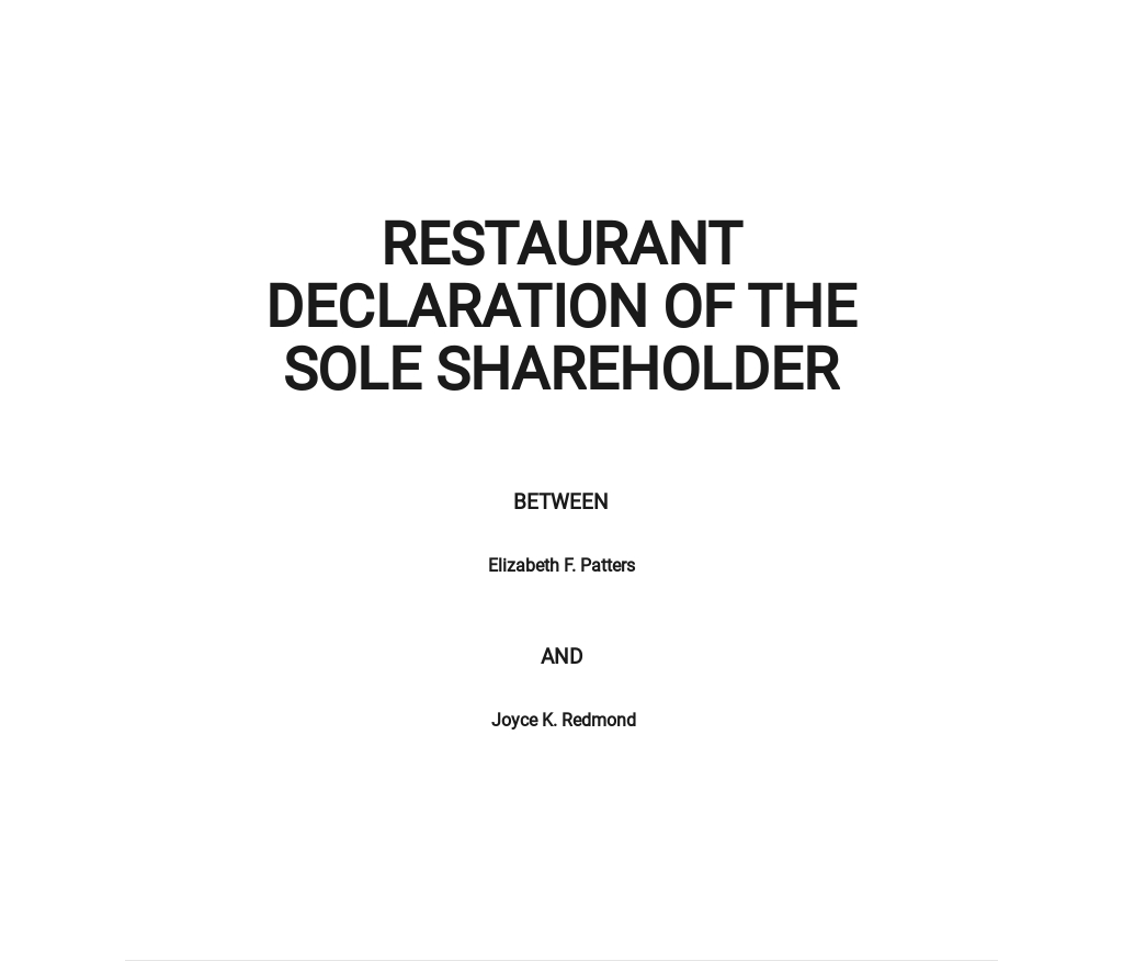 Restaurant Declaration of the Sole Shareholder Template