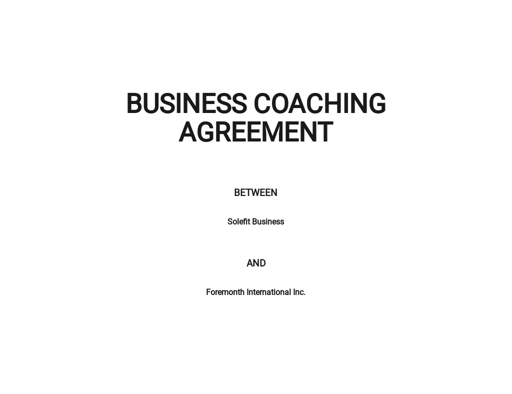 Business Coaching Agreement Template