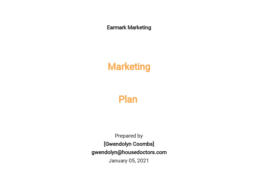 Written Marketing Plan Template