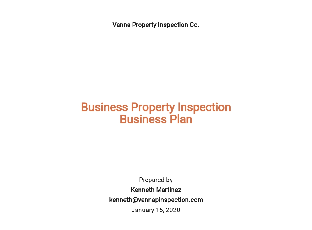 Business Property Inspection Business Plan Template