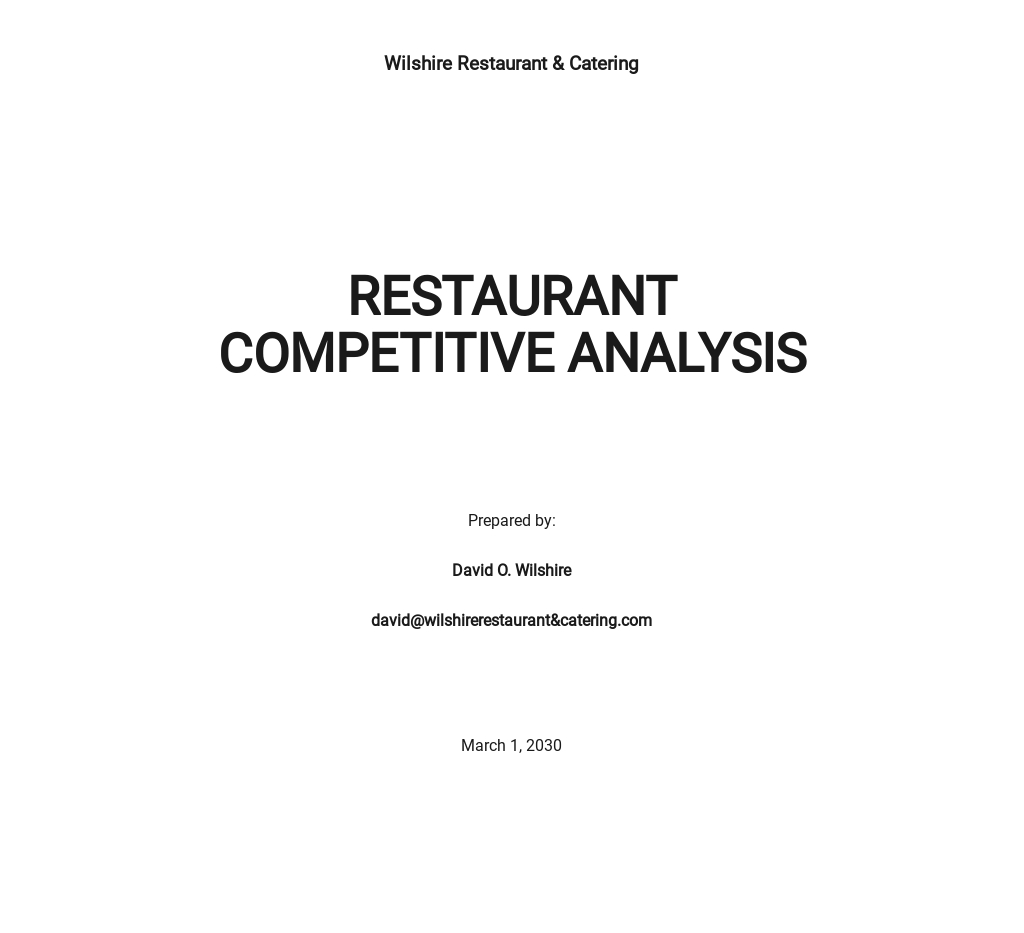 Restaurant Competitive Analysis Template