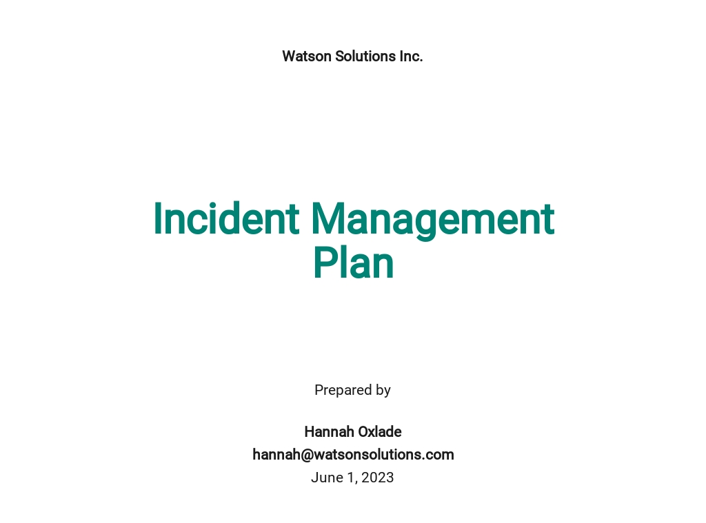 Incident Management Plan Template